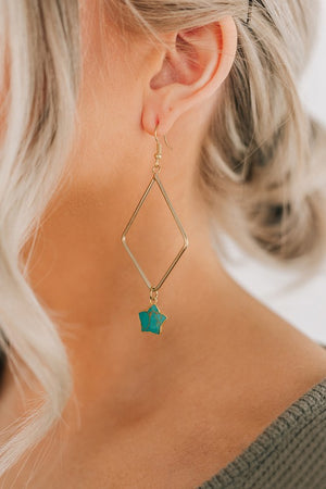 Teal Star Earrings