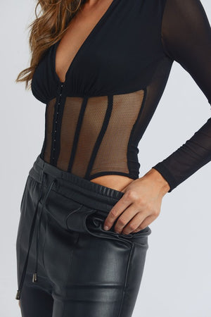 SHEER BODICE BODYSUIT