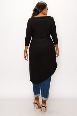 TWIST FRONT HI LOW TUNIC