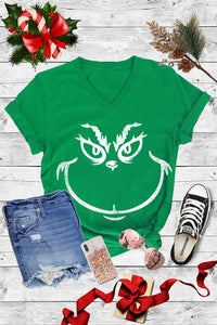 Grinch Graphic Tee (V Neck)