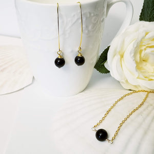 Black Onyx Glass Pearl Drop- Set
