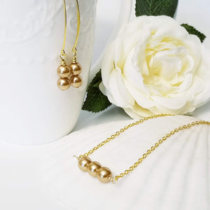 Gold Glass Pearl Drop- Set