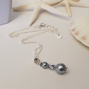 Dark Grey Glass Pearl Necklace