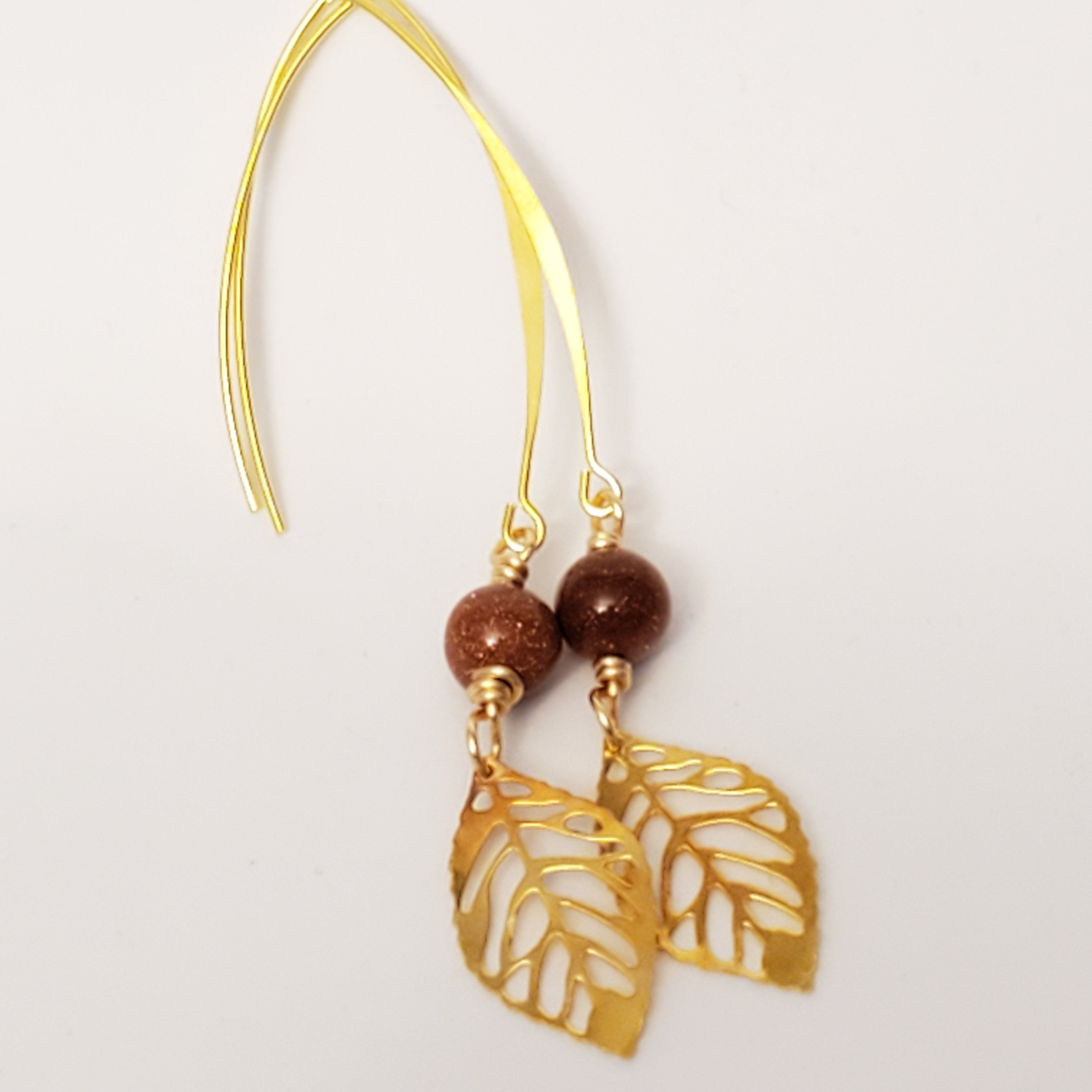 Gold leaf drop earrings with sandstone