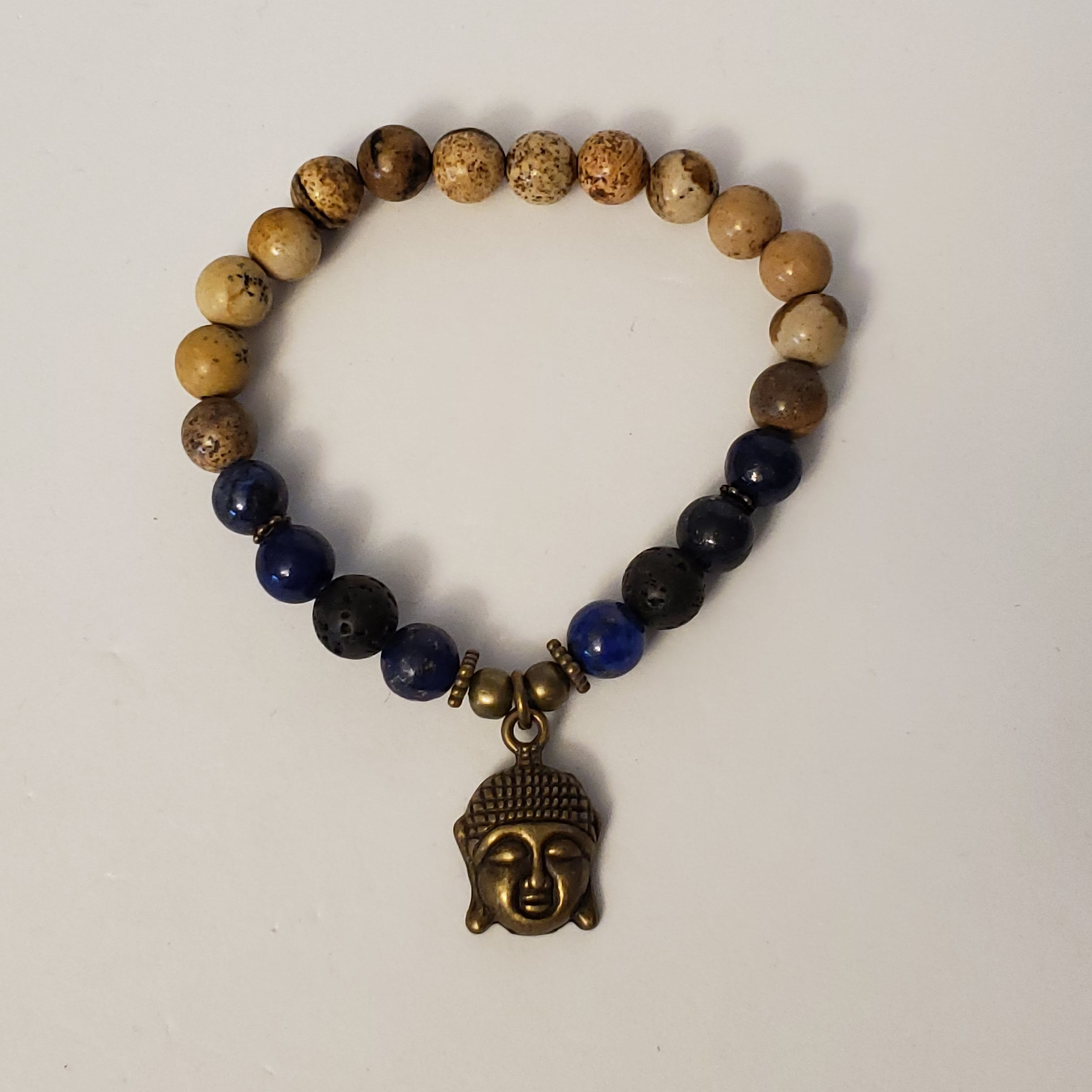 Brown Map Stone and Blue Lapis Lazuli - Size Medium