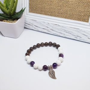 Amethyst and Brown Jasper Stone Bracelet - Size Medium
