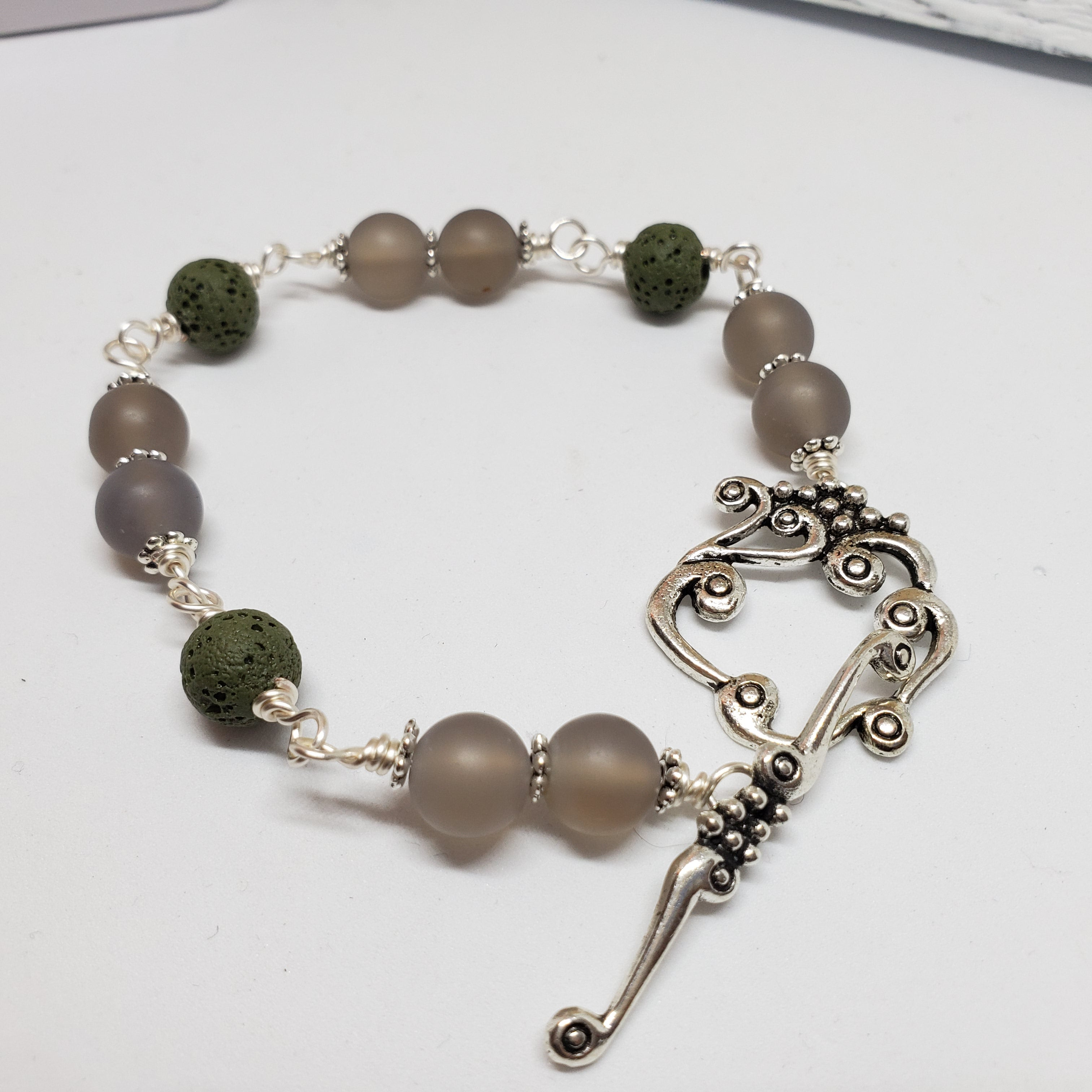 Frosted Grey Agate Diffuser Bracelet - Size Medium