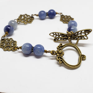 Antique Bronze Dragonfly Bracelet - Size Medium