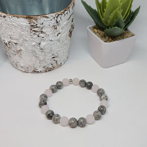 Frosted Rose Quartz and Landscape Jasper- Size Medium