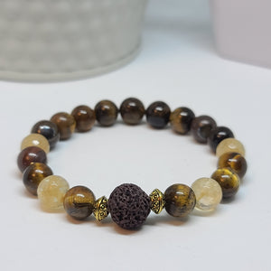 Tiger Eye and Faceted Citrine Stone- Size Medium