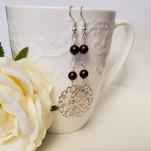 Dark Brown Snowflake Earrings