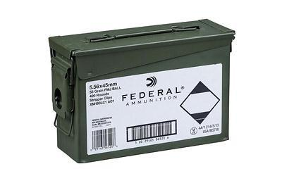 Ammunition-Federal Xm193, M193 5.56 Nato 55 Grain Weight FMJ | 420 rds With Can-Cobratac SKU 029465565206