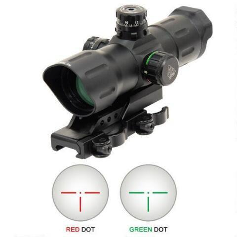 "Dot Sight-Leapers UTG, 6"" ITA Red/Green CQB Sight ,T-Dot Reticle, 1/2 MOA Adjustments, Offset QD Mount, Matte Black-Cobratac SKU 4717385551411"