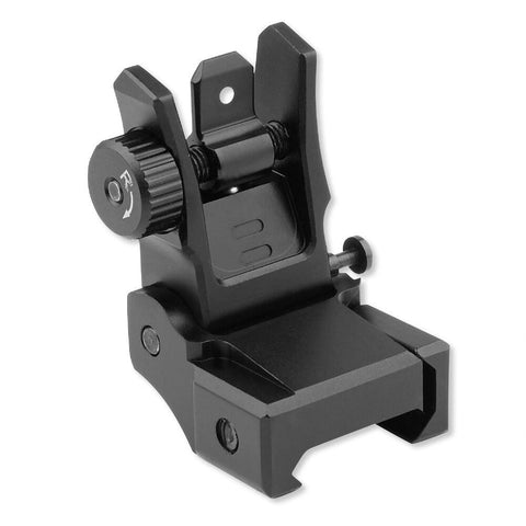 Iron Sight-Leapers UTG Low Profile Flip-up Rear Sight with Dual Aiming Aperture | Black MNT-955-Cobratac SKU 4712274528390