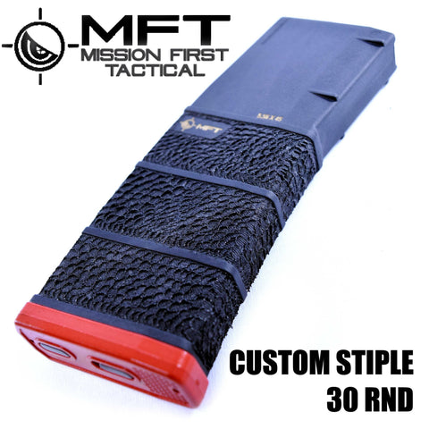Magazines-Mission First Tactical MFT Custom Stippled Magazine | 30RD | POLYMER BLACK/RED-Cobratac SKU MGMFTSCPM556BAG