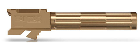 "Pistol Barrels-Lantac 9INE Drop In Replacement Barrel GLOCK 17 Fluted/Non-Threaded 9mm Luger 1:10"" Twist Stainless Steel Bronze Finish-Cobratac SKU 784672911276"
