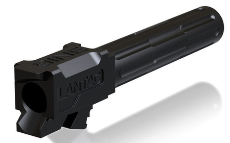 "Pistol Barrels-Lantac 9INE Drop In Replacement Barrel GLOCK 19 Fluted/Non-Threaded 9mm Luger 1:10"" Twist Stainless Steel Black DLC Finish-Cobratac SKU 784672911177"
