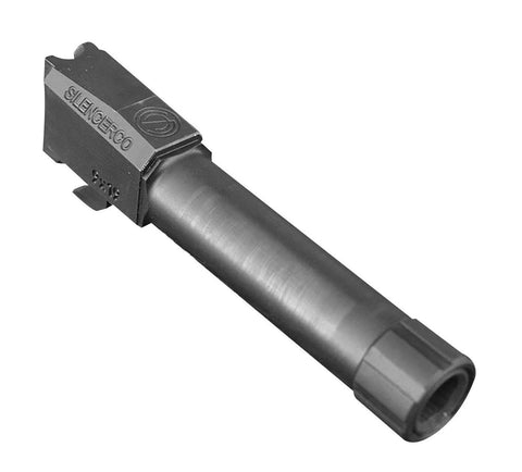 Pistol Barrels-Silencerco Threaded Barrel | 9mm | For Glock 19 | Black 1/2x28 Tpi-Cobratac SKU 817272012026