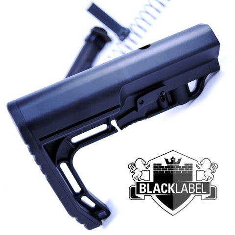Stocks-BLACK LABEL BUTTSTOCK UBER MINIMAL M4/M5 KIT BLACK-Cobratac SKU ASSEMBLY ITEM BL