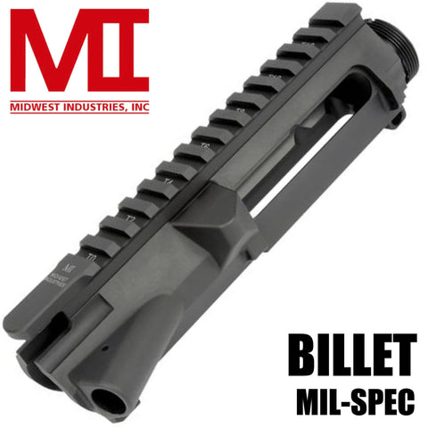 Upper Receiver-Midwest Industries Stripped Upper Receiver, Billet Aluminum | Black-Cobratac SKU 816537013921