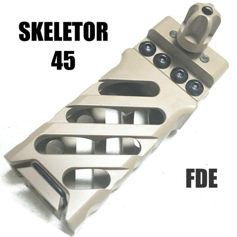 Vertical Forward Grips-CTAC Skeletor Ultralight Vertical Grip | 45° Milling FDE-Cobratac SKU GTA0287