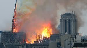 The roof of Notre Dame de Paris on fire April 15, 2019