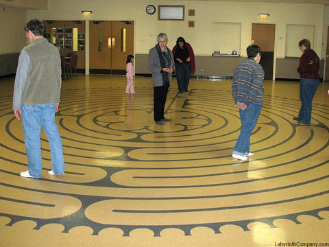 OakParkIL-Euclid United Methodist Church-Chartres Replica vinyl tile VCT floor labyrinth kit