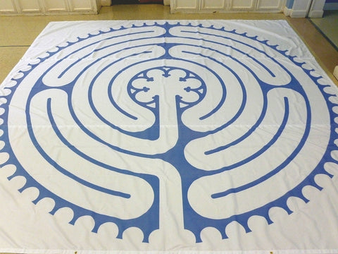 "Abingdon à la Chartres - Poly Canvas Portable Labyrinth - 16'-2.5"" - Aegean Blue Lines"