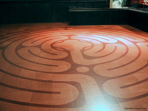 20' diameter St. Paul™ 7 circuit labyrinth and quatrefoil center detail - cork tile kit - Brown Memorial Presbyterian Church - Baltimore MD - side chapel installation beneath 16' x 32' Tiffany window