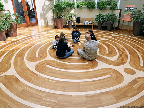 "BethesdaMD-NationalIntrepidCenter-25'-6""diameter-StPaul-a-la-Chartres-Labyrinth-Cherry-Maple-CounselingFamily"