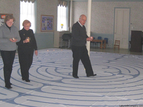 "ChartresReplica-PolyCanvasPortableLabyrinth-32'-10""-wide-OceanBlueLineColor-CongregationalChurchWestboroughMA-one-Velcro-seam-with-custom-central-pole-pocket"