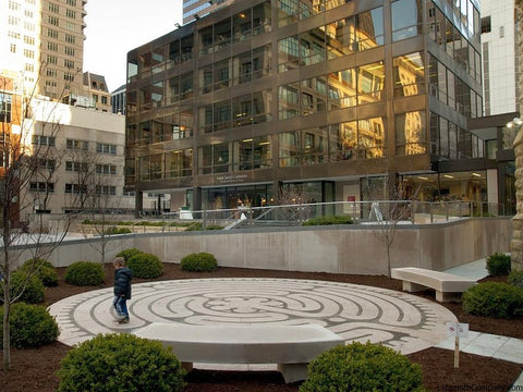 ChicagoIL-StJamesCathedral-StPaul-a-la-Chartres-Labyrinth-24'diameter-plaza-Two-Colors-Granite-child-walking