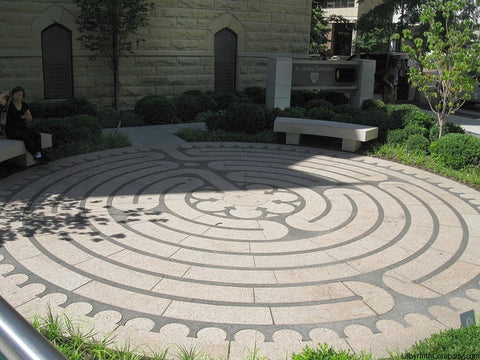 ChicagoIL-StJamesCathedral-StPaul-a-la-Chartres-Labyrinth-24'diameter-plaza-Two-Colors-Granite
