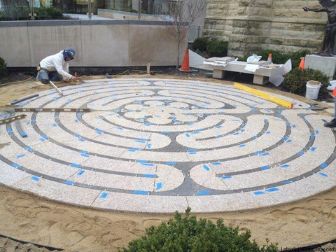 ChicagoIL-StJamesCathedral-StPaul-a-la-Chartres-Labyrinth-24'diameter-plaza-Two-Colors-Granite-during-installation