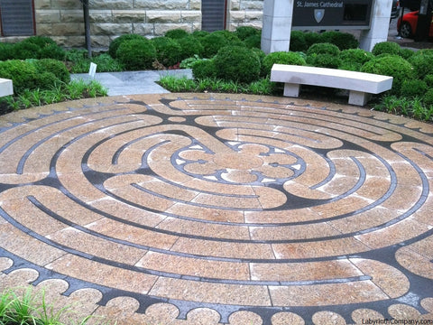ChicagoIL-StJamesCathedral-StPaul-a-la-Chartres-Labyrinth-24'diameter-plaza-Two-Colors-Granite-after-rain