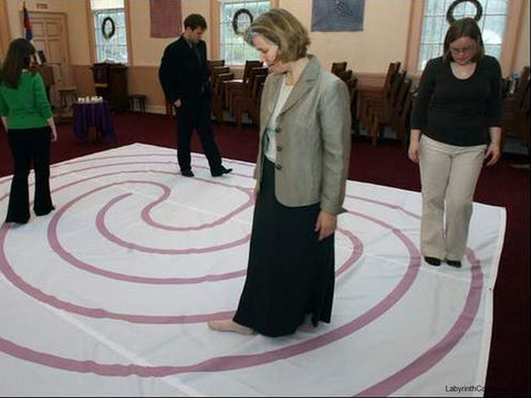 "Classical 5 Labyrinth - Purple Lines - 16'-2.5"" - Trinity Church, Warren NJ - Walkers"