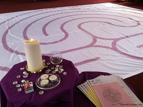 "Classical 5 Labyrinth - Purple Lines - 16'-2.5"" - Trinity Church, Warren NJ"