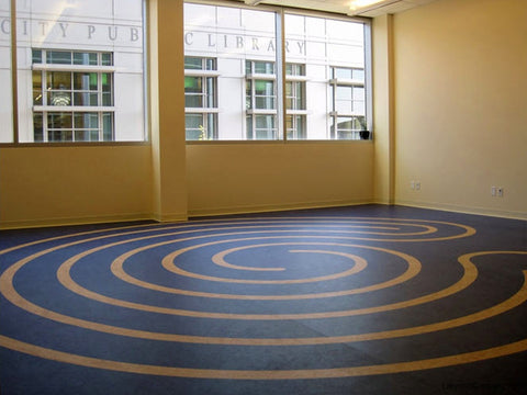 Iowa City IA Medical Office - 18' diameter Baltic labyrinth design from sheet linoleum