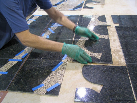 Granite Tiles Assembled After Cutting from Two Colors
