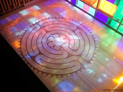 LouisvilleKY-NortonCancerCtr-18'diameter-Chelsea-a-la-Chartres-Labyrinth-Maple-Cherry-chapel-stained-glass