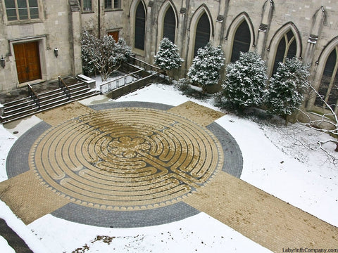 Macon GA Mulberry Street United Methodist Church January 2014 Courtyard in the Snow Chartres Replica Paver Brick Labyrinth Kit