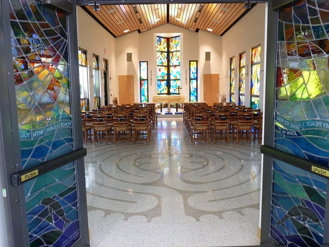 PalmBeachGardensFL-StMarksPeaceChapel-TerrazzoTiles-20'diameter-Chelsea-a-la-Chartres-labyrinth-from-entry