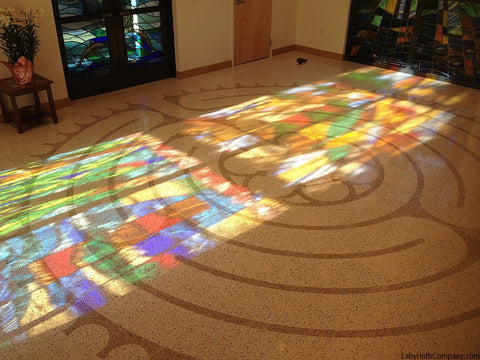 PalmBeachGardensFL-StMarksPeaceChapel-TerrazzoTiles-20'diameter-Chelsea-a-la-Chartres-labyrinth-stained-glass-lit