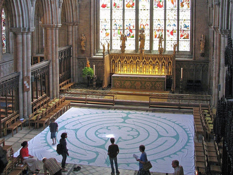 "Chelsea à la Chartres - Poly Canvas Portable Labyrinth - Sage Green Lines - 27'-3.5"" - Ripon Cathedral United Kingdom (England)"