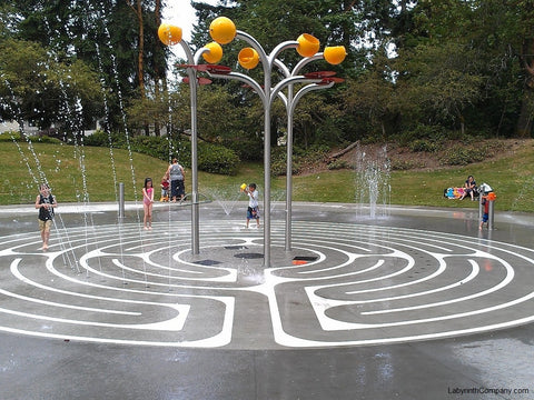 SeattleWA-Northacres Spraypark-38' Diameter-Vision Quest Labyrinth - Sandblast Resist Stencil Set - Stained Concrete