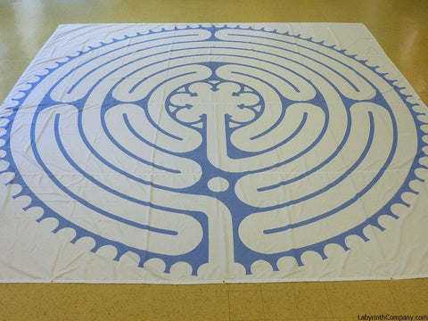 "St. Paul à la Chartres - Poly Canvas Portable Labyrinth - 21'-9"" - Aegean Blue Lines"