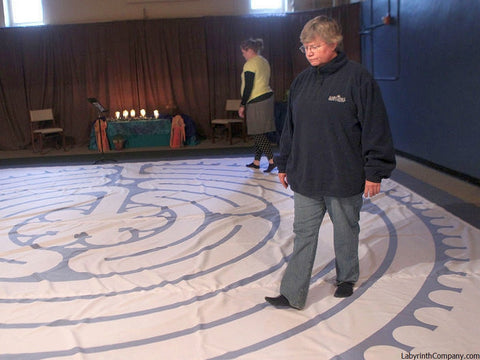 "St. Paul à la Chartres - Poly Canvas Portable Labyrinth - 21'-9"" - Purple Lines - St. Joseph MO - First Presbyterian Church"