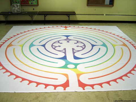 "St. Paul à la Chartres - Poly Canvas Portable Labyrinth - 21'-9"" - Rainbow Chakras Lines"