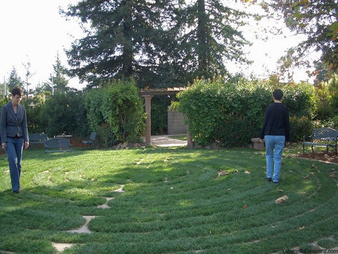 "SunnyvaleCA Presbyterian Church GrassyPavers and Concrete ""sandstone"" Lines Chartres Replica Labyrinth with walkers"
