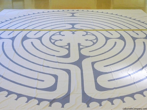 "VisionQuest-a-la-Chartres-PolyCanvasPortableLabyrinth-OceanBlueLines-27'-3.5""-VelcroSeamUnassembled"